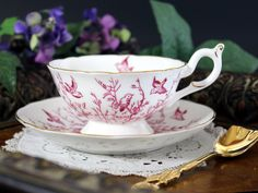 Coalport Pink Birds, Teacup and Saucer, Footed English Tea Cup 13258 - The Vintage Teacup - 1