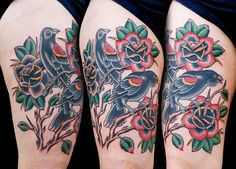 Redwinged blackbird roses tattoo web  by Myke Chambers Tattoos,