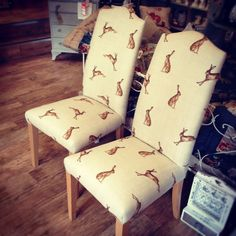 Hare Dining Chairs in our Fudge Hare Fabric by Peony and Sage. Chairs can be ordered from ROOMS WITH A VIEW in NORFOLK