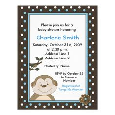 Bambino Monkey Brown/Blue Baby Shower Invite