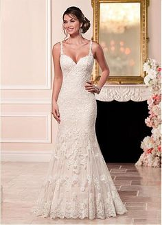 Amazing Tulle Spaghetti Straps Neckline Mermaid Wedding Dresses With Lace…