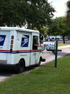 First official delivery of mail to the new mailbox at the Umatilla public library.