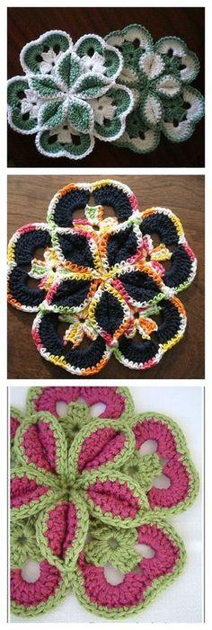 Crochet Flower Starburst Hotpad Free Pattern http://www.crochetmemories.com/archive/lorettasstarbursthotpad.html