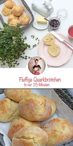 Quark bun recipe - ready in 25 minutes - Breakfast quark bun. It& that easy to bake perfect rolls for breakfast. Baking Recipes, Keto Recipes, Bun Recipe, Roll Recipe, New Fruit, Breakfast Bake, Pasta, Eating Plans, Food Items