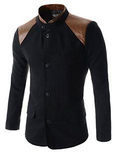 Men's Hybrid Faux Leather Paneled Mandarin Collar Three Button Jackets Outerwear (Medium: US Small, Black) Hi Korean Fashion http://www.amazon.com/dp/B00O0FJTWQ/ref=cm_sw_r_pi_dp_..Mkub08C5TK6