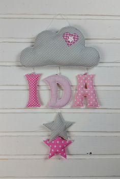 """... [ """"Ab""""-Preis! - > Wolke + 3 Buchstaben + 2 Deko-Elemente ] [ für Namen bis 5 Buchstaben ]   ~~~~  **_Süße Wolken-Girlande mit Eurem Wunschnamen aus Stoff-Buchstaben und 2..."""