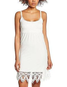 8, White - Weiß (Chalk 60034), Cream Women's Mitzy Underdress Sleeveless Dress N