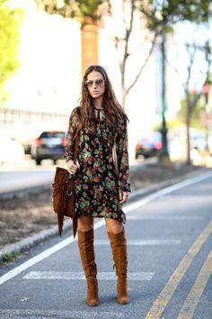 NYFW-boho-70 tendência boho-impresso vestido-saco franja do joelho altas de camurça tan botas-via-PopSugar