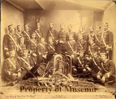 Photograph of McCoy's Military Band in uniform, 1880-1889.  (History Center of San Lus Obispo County)
