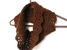Infinity Scarf Brown Chocolate Delicate Cowl by MyHobbyShop, $20.00
