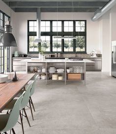 Industrial, airy and minimal kitchen design Stone Interior, Interior Design Kitchen, Kitchen Decor, Brick Design, Tile Design, Minimal Kitchen Design, Interior Styling, Interior Decorating, Casa Loft