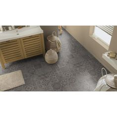 Revêtement PVC 4m - ESSENTIALS 280T - Tarkett Almeria Smoke carreaux Sol Pvc, Bath Mat, Essentials, Smoke, Home Decor, Trends, Interior Design, Home Interior Design, Smoking