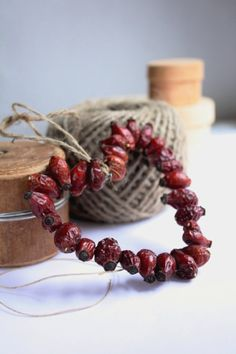 DIY Crafting - string cranberries on thin wire, bend into shapes (hearts, stars, wreaths) and hang with jute string - decor: country, rustic, primitive
