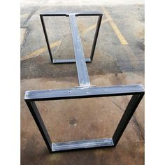 Trapezoid Steel Legs With 1 or 2 Braces Dining Table Industrial Legs... ($380) ❤ liked on Polyvore featuring home, furniture, tables, dining tables, black, dining room furniture, home & living, kitchen & dining tables, black kitchen table and onyx table