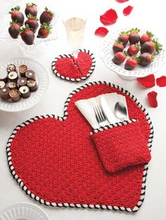 All You Need Is Love Table Set Crochet Pattern Download from e-PatternsCentral.com -- This love-inspired three-piece table ensemble sets the perfect mood for a romantic Valentine's Day dinner.
