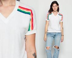Terry Cloth Shirt RAINBOW Retro T Shirt 80s TShirt Striped Top V Neck Shirt  White Tee Plain Athletic Shirt Vintage 1980s Sports Large 2ebda16fd