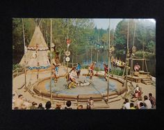 Circa 1965 Vintage Disneyland Indian Village Ceremonial Dance Postcard #1-297