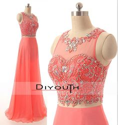 DIYouth.com Sexy Open Back Beaded Long Prom Dresses Two Pieces 2015,Coral bridesmaid dress,coral wedding party dress,handmade beading chiffon long bridesmaid dress,long coral prom dress