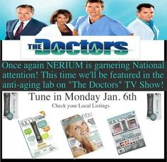 "Heads up! Nerium is being featured on ""The Doctors"" on Monday! If you get a chance, DVR it! Contact me afterwards! I will have a limited amount of free samples!! www.californiabeautiful.nerium.com"