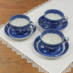 Allertons Blue Willow Transferware Cups & Saucer ~ Mismatched Set of 3 ~ England Porcelain China ~ Stoneware