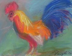 Who doesn't love a colorful rooster?  Daryl Thompson - Pastel.   For Sale