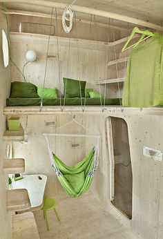 Cool loft idea! The green makes it feel more earthy, yet 70s at the same time. #tinyhousemovement