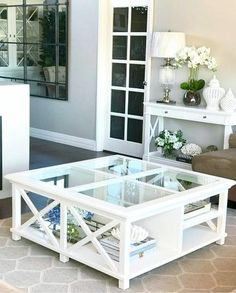 Newport Square Coffee Table In White White Glass Coffee Table, Coffee Table Rectangle, Coffe Table, Coffee Table Styling, Die Hamptons, Hamptons Style Decor, Design Furniture, Furniture Layout, Hamptons Living Room