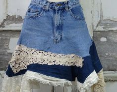 Items similar to Coral Upcycled Jean Skirt, size 4 on Etsy