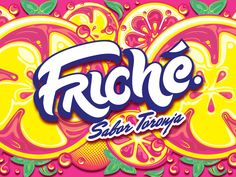 Friché designed by Christian Antolin. Psychedelic Typography, Cool Typography, Graffiti Lettering, Juice Branding, Logo Branding, Branding Design, Template Free, Logo Template, Logo Inspiration