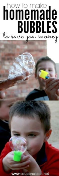 Easy Homemade Bubbles Solution that you can make at home with your kids.