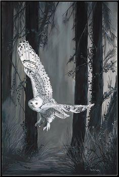 Items similar to Ghost in Torrit Woods x Snowy White Owl Print on Etsy Black And White Owl, White Art, Thomas Kinkade, Amazing Beasts, Owl Wallpaper, Owl Tree, Owl Pictures, Owl Print, Snowy Owl