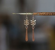 Dragonfly Earrings  Fish Bone Chain and Copper Drop by prairieoats