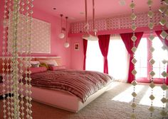 Pink Print The Bedroom Is Dominated By Color And Girly Decorating Idea   Wallpaper