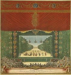 Ballet La Princess d'Elide, Palace of Versailles, Paris, published in 'Les Plaisirs de L'Isle', Paris, 1673-4. The ballet La Princesse d'Elide was part of a seven day fête held in May 1664 at the Palace of Versailles. The festivities celebrated the birth of a son to Louise de La Vallière, mistress of the French king Louis XIV.