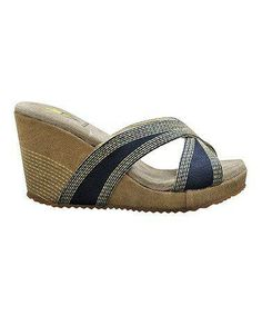 #Navy Lanelines Wedge Slide by VOLATILE on #zulily