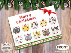 Printable Christmas Cat Greeting Card Cat Holiday Greeting