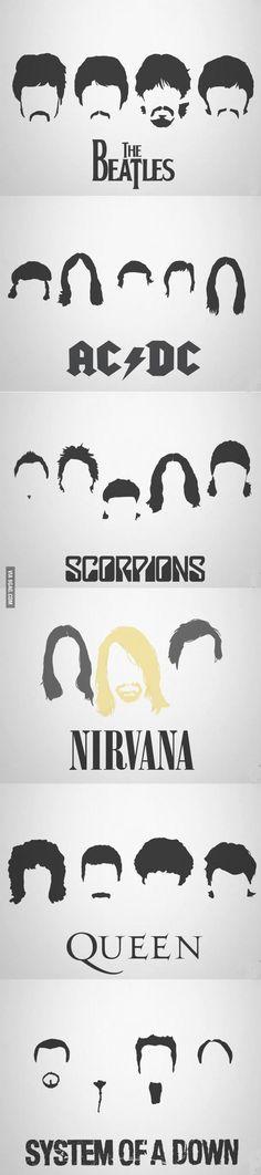 bandas épicas, cortes de cabelo épicos.