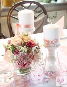 Altrosa Tischdeko Hochzeit Taufe Sizoweb Perlen Blumen rosa pink Kerzenständer Schleife