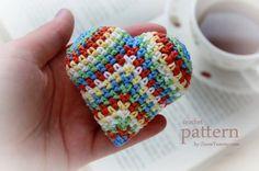 happy colorful crochet heart pattern