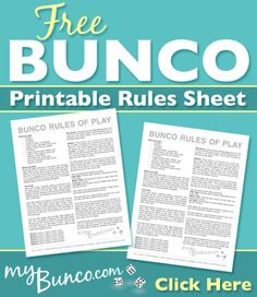free bunco dice game instructions