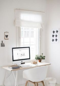 50 Home Office Design Ideas That Will Inspire Productivity A minimalist home office! More Related posts: Cool And Cozy Home Office Design Ideas That Can Boost Your Productivity Home Office Space, Home Office Design, Home Office Decor, Desk Space, Small Office, White Office, Office Designs, Desk Office, Computer Desk Small Space