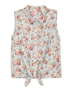 Floral Print Sleeveless Blouse with Self-Tie to Front