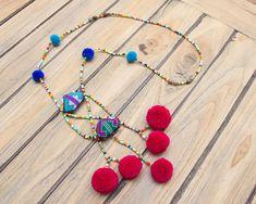 Mien Beads Pompom Necklace / Yao Necklace / by CHEZMOIMYHOME