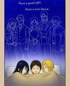 Eren, Mikasa, Armin, 4/4, Attack on titan, AOT, SNK