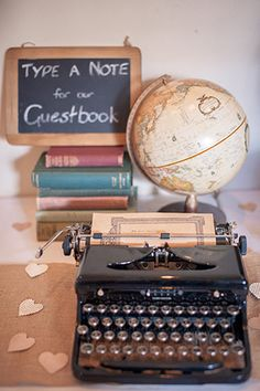 vintage typewriter guestbook | Clare and Nathan's beautifully intimate wedding by I Heart Weddings | www.onefabday.com