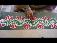 Colorful Border Rangoli Design(NEW) - YouTube Easy Rangoli Designs Diwali, Simple Rangoli Designs Images, Rangoli Designs Flower, Free Hand Rangoli Design, Small Rangoli Design, Rangoli Border Designs, Rangoli Ideas, Colorful Rangoli Designs, Flower Rangoli