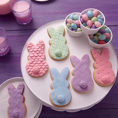 Cookie Bunnies in Spring Colors! - Just in time for Easter, these bunny treats are showing hop couture! Cut with the PEEPS Cookie Cutter Set, their fondant coats are done in cool pastels and textured with the Pattern Embosser Set and decorating tips.