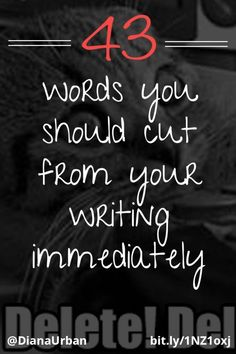 43 Words you should cut from your writing immediately. Smart editing rules to streamline your writing and get to the point faster! Creative Writing Tips, Book Writing Tips, English Writing Skills, Editing Writing, Writing Words, Writing Quotes, Fiction Writing, Writing Resources, Writing Prompts