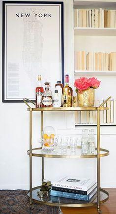 gold bar cart + simple wall shelf | cynthia reccord