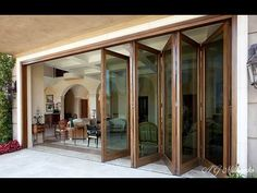 WOODEN FOLDING DOOR (Bi-Fold) Add a practical and attractive feature to any home with wooden patio doors that bring the garden and the interior closer together. Sliding Folding Patio Doors in timber are a perfect combination of natural timber and Modern Exterior Doors, Exterior Doors With Glass, Interior Barn Doors, Sliding Glass Door, Exterior Windows, Wooden Glass Door, Wooden Bifold Doors, Wooden Patio Doors, Patio Windows